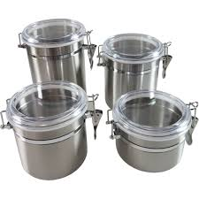 Stainless Steel Canister Sets Kitchen Simply Perfect 4 Pc Stainless Steel Canister Set Canisters