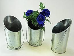 Galvanised Vases Hosley Set Of 3 Galvanized Vases French Buckets 9