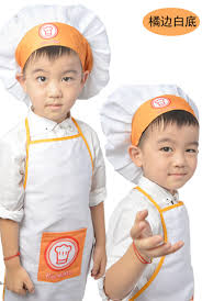 Free Shipping Kids Cook Apron Children Costume Sets Painting Apron