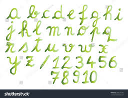 Green Shades by Watercolor Alphabet Numbers Green Shades Stock Vector 568277269