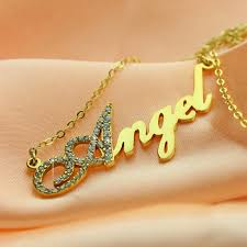 chain with name 18k gold plated script name necklace initial birthstone