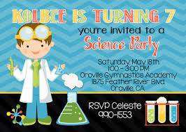 science 5x7 invitation boy birthday party printable by party