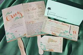 palm tree wedding invitations mint green orange sunset palm trees airplane heart