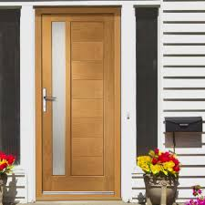 Hardwood Door Frames Exterior Prefinished Modena External Oak Door Obscure Glazing
