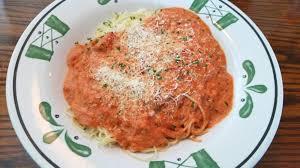 Olive Garden Five Cheese Marinara - angel hair pasta with 5 cheese marinara off the never ending pasta