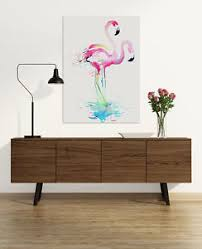 how to hang art prints pink flamingo watercolour canvas art print framed ready to hang