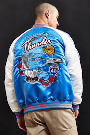 starter black label uo nba oklahoma city thunder souvenir jacket