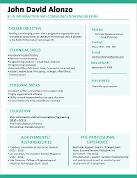 Work Experience Resume Format For It by Sample Resume Format For Fresh Graduates One Page Format