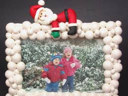polymer clay frame with snowballs and santa hgtv