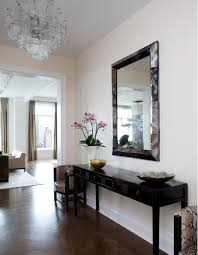Mirror And Table For Foyer Cherringbone Wood Floors Contemporary Entrance Foyer Mr