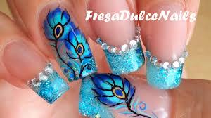 bonitas uñas decoradas pluma de pavo real cute peacock feather
