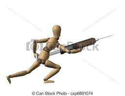 wooden artist mannequin doctor holding hypodermic needle