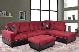 low profile red microfiber u0026 faux leather sofa sectional w right