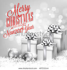 merry christmas invitation template gift box stock vector
