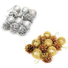12pcs tree hanging balls gold silver pine cone color