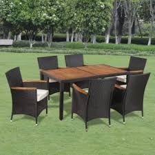 Patio Table And 6 Chairs 7pcs Dining Table And 6 Chairs Rattan Wicker Solid Wood Garden