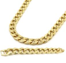 plated necklace chains images Mens gold plated cuban hip hop miami necklace chain bracelet jpg