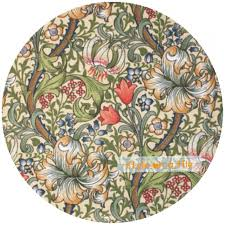 lovely william morris golden lily flower round wooden coaster