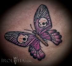 moth butterfly with skulls color ink