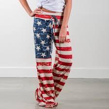 Poly Flag Women American Flag Drawstring Wide Leg Pants Leggings Poly Low