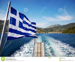 Blue Flag Yachts Greek Flag On Boat Stock Photo Image Of Flag Scenic 87095286