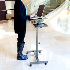 Standing Desk For Laptop by Seville Classics Mobile Laptop Desk Cart With Side Table New