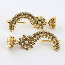 ear cuffs india anvi s beautiful design pearl ear cuffs with jhumkas ear rings