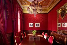 dining room red damask pattern wall dining room ideas with red