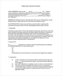 sample contract employee agreement 10 examples in word pdf
