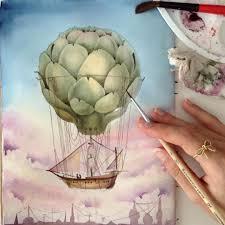 watercolor sketching artichoke air balloon limkina