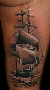 side galleon tattoo by black rose tattoo