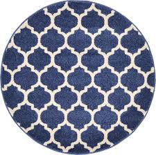 dark blue 3 u0027 3 x 3 u0027 3 trellis round rug area rugs esalerugs