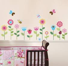Wall Nursery Decals Garden Flowers Baby Nursery Peel Stick Wall Sticker Decals