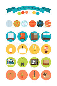 70 S Style Furniture 70s by Set Of Vector Icons Of Furniture And Accessories In The Style Of