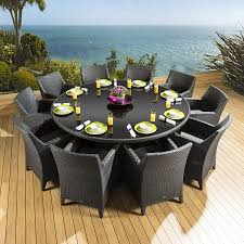 10 chair dining table set rattan garden dining set round table 10 large carver chairs black