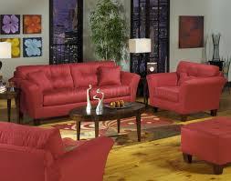 Red Loveseat Red Tufted Fabric Modern Sofa U0026 Loveseat Set W Wood Legs