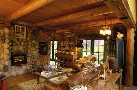 modern country cabin decor with antique pendant lamps and natural