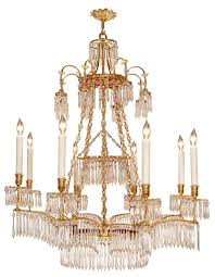 russian neo classical style crystal and ormolu eight light