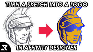 how to turn a sketch into a logo using affinity designer youtube