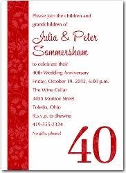 40th anniversary invitations 40 wedding anniversary invitations tbrb info