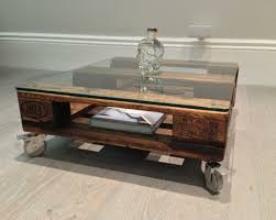 Upcycled Side Table Cool Small Coffee Table On Wheels 36 Casters Mini Glass Top