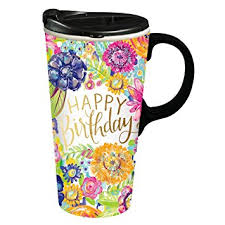 happy birthday design for mug amazon com cypress home happy birthday ceramic travel coffee mug