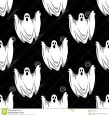 cartoon scary ghosts in halloween seamless pattern stock vector