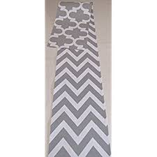 Grey Chevron Table Runner Grey And White Unlined Table Runner 12 X 72 Amazon Com Grocery