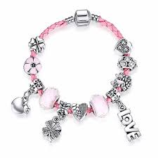 pink leather bracelet images All you need is love pink pandora style leather bracelet combo jpg