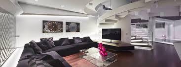 impressive black shelves on the white off floor of luxury modern
