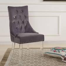 Grey Velvet Dining Chairs Gobi Gray Velvet Dining Chair Set Of 2 From Armen Living Coleman