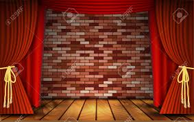 Rustic Curtains And Drapes Red Curtains Or Velvet Drapes On An Old Rustic Brick Wall As