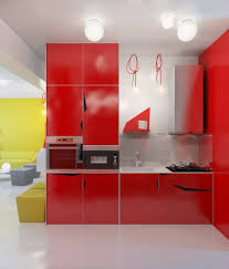 modern white and yellow kitchen lacquered red kitchen cabinet
