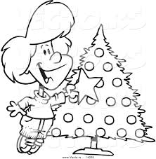 vector cartoon happy decorating christmas tree